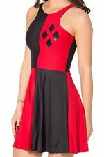 Harley Quinn Playin Poker Reversible Off Shoulder Stretch One Piece Skater Dress