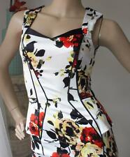 CUE Wiggle Peplum Evening Dress Size 6 - 8 Satin Slinky 40s Pin Up style BNWT
