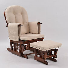 Baby Breast Feeding Sliding Glider Rocking Chair with Ottoman Walnut Beige