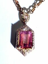 Stunning! 14K Rose Gold Shimmering Hot Pink Tourmaline and Diamond Necklace