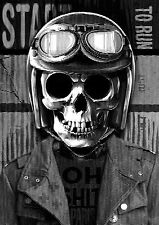 STUNNING MOTORCYCLE CLUB SKULL CANVAS PICTURE #20 WALL HANGING POP ART A1