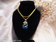 Halskette(40cm)18 Karat Gelbgold Platiniert mit blauem Zirkon Stein und Kristall