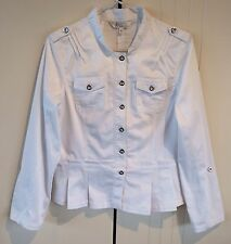 Womens Grace Hill White Lightweight Military Peplum Jacket Size 14