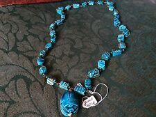 TURQUOISE BLUE PAINTED RESIN EGYPTIAN SCAROB BEETLE NECKLACE/ PENDANT