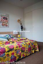 Indian Floral Kantha Quilt Cotton Bedding Bed Spread Twin Size Gudri Blanket