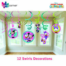 MINNIE MOUSE PARTY SUPPLIES 12 SWIRL FOIL HANGING DECORATIONS  FREE POSTAGE
