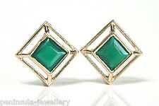 9ct Gold Green Agate Square Studs earrings Made in UK Gift Boxed