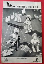 """Patons Book C3 - Vintage Dolls Clothes - 9 Knitting Projects for 16-18"""" Dolls"""