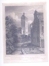 Paderquelle Pader i Paderborn m Dom, Kolb n. Lange, Stahlstich gerahmt, ca 1850