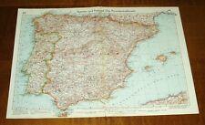 Spanien und Portugal / Italien: Alte Weltkarte aus Velhagen & Klasings