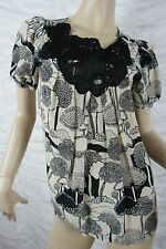 KIMCHI & BLUE beige black 100% silk tree print short sleeve blouse size S EUC