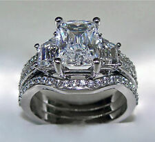 NEW 3ct WEDDING WEDDER BRIDAL RING SET 10k White Gold Filled Diamond Simulant