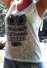 Ladies Surf Singlet T Shirt Tank Top White Black Owl Cotton One Size 88/108cm +