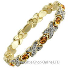 NEW Ladies Magnetic Bracelet with Pretty Amber Crystals GIFT BOXED Magnets