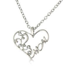 Chic Women Crystal Gifts Flower Heart Mom Pendant Necklace Jewelry Mother Day