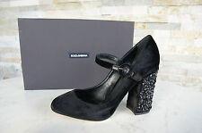 Dolce & Gabbana D&G Gr 39,5 Pumps Abendschuhe schwarz Samt Strass neu UVP 695€