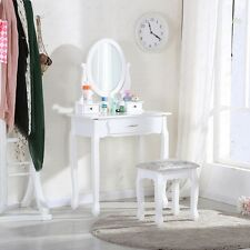 White Dressing Table Makeup Desk with Stool, 3 Drawers and Oval Mirror Bedroom