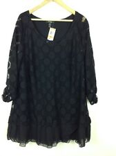 "STYLE & Co Woman Sz 3 XL ""Spanish Gardens"" Black Mesh Covered Tunic Top BNWT"