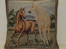 Kissenhülle;ca.40cmx40cm;mit Reißverschluß;Gobelin;Kordeleinfassung;Motiv Pferde