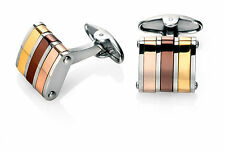 Fred Bennett Stainless Steel Cufflinks With Gold, Brown & Rose Gold PVD