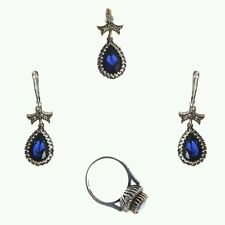UK BASED AUTHENTIC  TURKISH OTTOMAN SULTANA JEWELLERY 935 SILVER SAPPHIRE SET