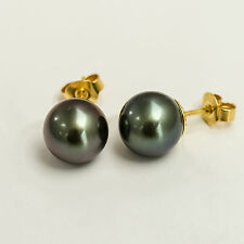 BLACK PEARL GOLD EARRINGS. 9.6mm TAHITIAN PEARLS ON 18CT GOLD. PEACOCK COLOURS.