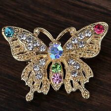 Vintage Butterfly Pin Gold Brooch Plated Crystal Rhinestone Women Jewelry Gift