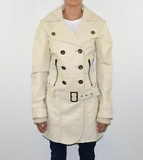 Ivory Leather VERO MODA Double Breasted Tie Waist Women's Coat Jacket Size L