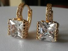 F04 Large square white sapphires 18k gold GF French hoop earrings BOXED Plum UK