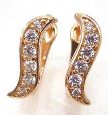 Women Lady New 18K Yellow Gold Plated Clear CZ Cubic Birthday 12mm Hoop Earrings