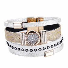 Antique Magnet Closure Cuff Leather with Crystal Eye White Slake Bracelet