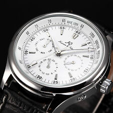 KS Imperial Men's Black Leather Automatic Mechanical Date Day Sport Wrist Watch