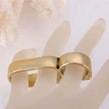 Men's Cool Stainless Steel Gold Tone Ring Double Finger Ring Vintage