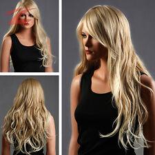 ZNL HOT Damen Perücke wie Echthaar Blond Haar Wigs Weiblich Gelockt Lang Cosplay