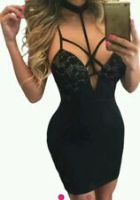 New Choker Halterneck Strappy Cut Out Cage Mini Bodycon Dress size 10-12