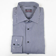 Eterna Navy/Silver Striped Two Ply Shirt. Size: 17.5/44 - RRP: £80 NEW WITH TAGS