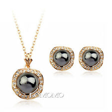 18K Rose Gold Plated Large Black Pearl Earrings and Necklace Set  S928