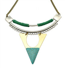 New Fashion retro silver plated alloy triangle metal turquoise pendant necklace