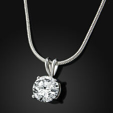 Fashion Women Elegant CZ Crystal Pendant Chain White Gold Plated Necklace