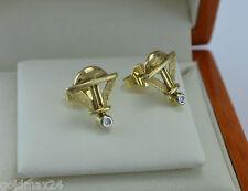 elegante Ohrstecker mit kl. Brillanten - Dreieck-Form / 375er - 10 Karat Gold