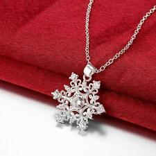 2016 New .925 Classy Sterling Silver Plated Stamped Snowflake Necklace