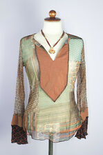 Boho Festival Hippie Indie Gypsy Top XS Size 4 See through Bell Sleeve Sheer 90s
