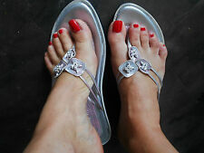EAST WEST ladies womens silver summer sandals flip flops flats casual size 6