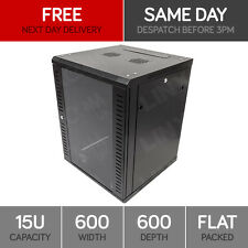 """15U 19"""" Network Cabinet Rack Wall Mounted 600*600mm Black Data Comms Patch Panel"""