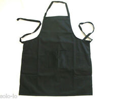 New Kitchen Apron 100% Cotton Washable Black Cooking Chef Cafe with Front Pocket