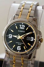 Casio MTP-1314SG-1AV Men's Analog Watch Large Gold Silver Steel Band Date New