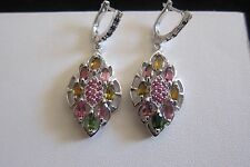 Gorgeous Tourmaline Ruby Sapphire 925 Sterling Silver Post/Dangle Earrings