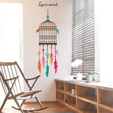 Bird Cage Feathers Room Home Decor Removable Wall Stickers Decals Decoration