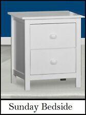 Assembled Sunday Hardwood timber 2 drawer Bedside chest table in white