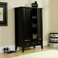 Pantry Cabinet Wardrobe Tall Dark Wood Armoire Kitchen Cupboard